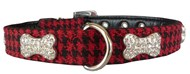 Handmade Houndstooth & Crystal Bone Dog Collar (Red & Black)