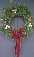 Burgundy/Gold Bead Ribbon Wreath - 28""
