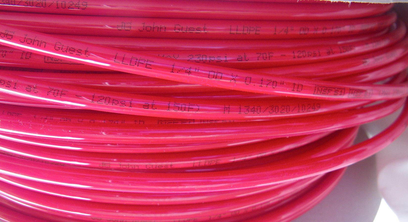 John Guest 1 4 Quot High Pressure Lldpe Red Tube Product Code