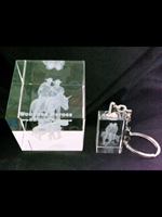 """""""SIMPSON & HIS DONKEY"""" LAZERED - 3D CRYSTAL PAPERWEIGHT AND KEYRING - Beautifully Gift Packed"""