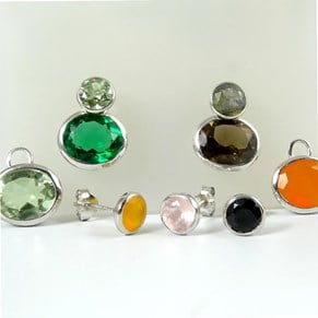 Silver Gemstone Rubover Studs - Autumn colours