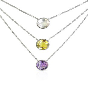 The Silver Oval Gemstone Necklace