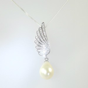 New! Pearl and 'Diamond' Winged Pendant
