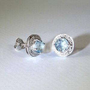 NEW!! The embellished Blue Topaz Studs