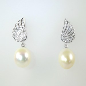 NEW!  The 'Pearl and Diamond' Winged Earrings