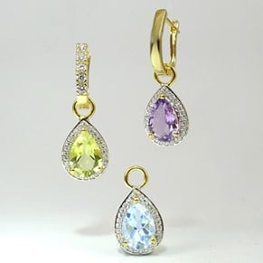 Gold Teardrop Truly Amazing Detachable CZ 'Diamond' Cluster Gemstone Earrings