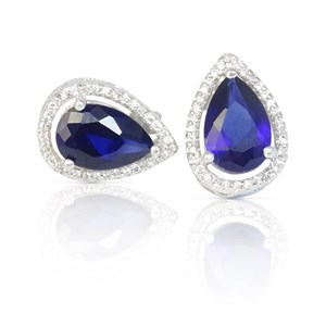 Pear 'Sapphire' & 'Diamond' Earrings