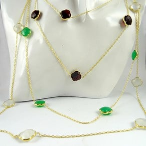 "NEW COLOURS!! Gold Clover Gemstone 40"" inch necklace"