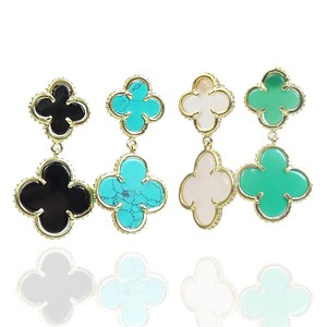 The Double Gem Clover Earrings