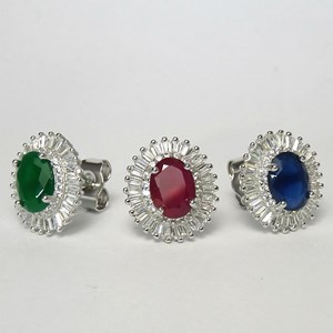 New - The Baguette Oval Gemstone Stud
