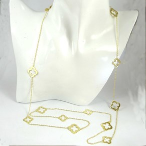 "The Fabulous 40"""" Gold Clover Necklace"