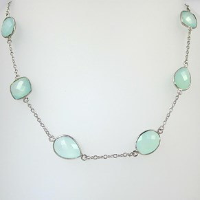 Woo hoo - it's back! The Aqua Chalcedony  and Silver Necklace 18