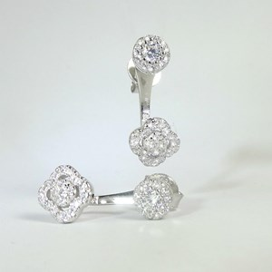 NEW!  Wow, at last: back to Front Clover Earrings