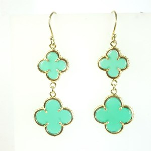 The Green Onyx Double Clovers on Hooks