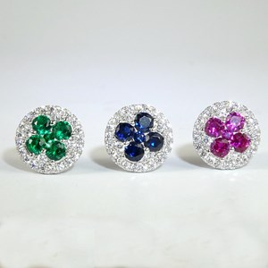'Ruby, Sapphire and Emerald' Clover Cluster Studs