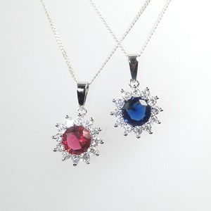 New! The Gemstone and CZ Flower Pendant