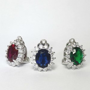 The Clip-on Oval Gemstone Stud