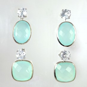 AT LAST! Detachable Aqua Chalcedony Earrings
