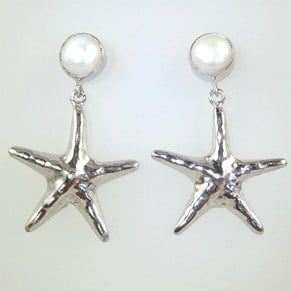 NEW - Wonderful Large Silver Pearl and Starfish Earring