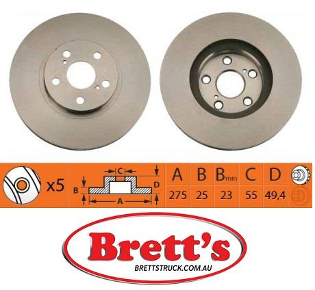 RN1142V FRONT DISC ROTOR NiBK FOR TOYOTA RN1142 TOYOTA Celica Front Axle  Rotor Jun 99~Apr 06 1 8 L ZZT231 2ZZ-GE Front Axle Rotor Aug 02~Apr 06 1 8  L