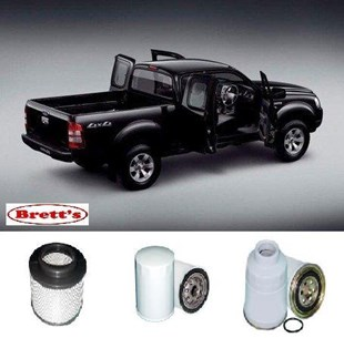 KIT8001 BRETTS FILTERS 4WD FILTER KIT RSK4 FORD RANGER 2007-2012 TURBO DIESEL 2.5L 3.0L 3L FUEL AIR  OIL FILTERS  LUBE SERVICE KIT  	PJ PK 4Cyl Common-Rail Turbo Diesel WE-AT WL-AT  DOHC 16V K-11011 MK13501 X902855