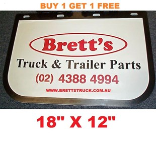 "MUD0001 *BUY 1 & GET 1 FREE* GENUINE BRETTS TRUCK PARTS MUDFLAPS 12"" X 18"" 310MM X 455MM DROP X WIDTH TRUCK AND UTE  BRETTS MUDFLAP BRETT MUD FLAP MUDFLAPS"