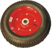 "52107 400MM  Wheels - Pneumatic Wheel - 400mm Steel centered 1"" axle bore. Suitable for loads up to 200kg. 52107 Pneumatic Rubber Wheel – 16""x4.50-8 x 1"" steel centered      Rim Thickness 1.8mm, 4 ply wheel, sealed bearing 6205-2RS Boss 70mm"