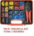 GKA900  900 PC TERMINAL ASSORT KIT + 2  CRIMPER CRIMPERS 900 PIECE ELECTRICAL CONNECTOR SET 900 PIECES  1 STD CRIMPER 1 RATCHETING CRIMPER 900 + ASSORTMENT 56530 NOT NARVA  PROFESSIONAL TERMINAL AND CONNECTOR ASSORTMENT  GRAB KIT SET ASSORT ASSORTMENT