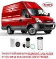 KIT5508 FILTER KIT IVECO NEW DAILY Iveco    Daily 2.3L TD    2005-2012   35S12 35S14 Turbo Diesel  4Cyl  F1A  EDI  DOHC 16V     OIL FUEL AIR FILTER SET