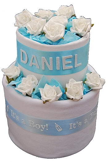 Corporate Baby Gifts Australia : Personalised deluxe two tier nappy cake gift hampers