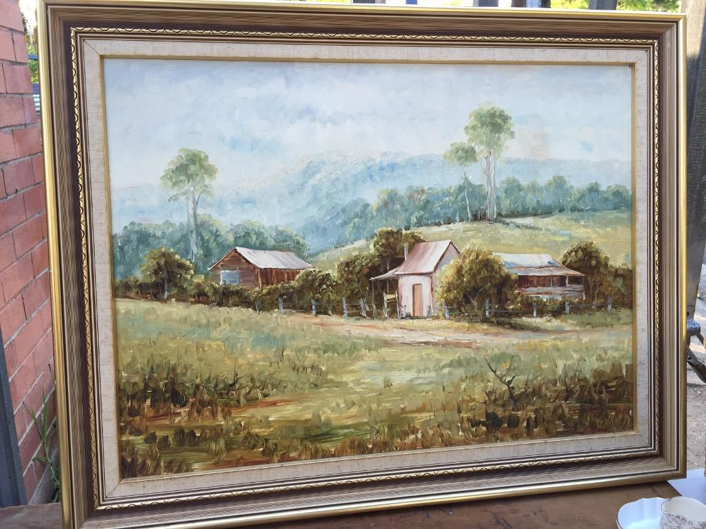 Vintage framed oil painting classic australian house for Classic house painting
