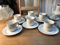 6 Retro English Royal Doulton Morning Star Tea Cups & Saucers