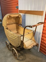 Vintage Australian Metal & Vinyl Weave Large Pram Doll Teddy Bear Collectors