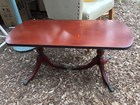 Vintage Mahogany Georgian Style Double Wine Occasional Lamp Table Brass Feet