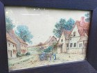 Pair Antique Water Colour T.H Lilian Paintings Oak Frames English Rural Scenes