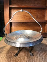Beautiful Antique Art Nouveau Silver Plated Footed Bowl Etched Design