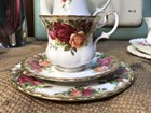 Lovely Vintage English Royal Albert Old Country Roses Coffee Cup Trio