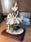 Large Italian Ceramic Figurine of a Seated Girl and Bird on a Timber Base