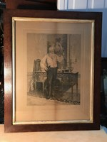 Antique Oak Framed English Victorian W. Dendy Sadler Etching His Favourite Glass