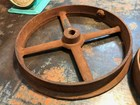 Antique Rustic Industrial Warehouse Farm Shed Wagon Cast Iron Wheel 43cm High