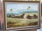 Vintage Framed Oil Painting Classic Australian House Country Scene J Nolan