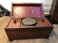 Antique English Georgian Mahogany Tea Caddy with Compartments & Mixing Tin