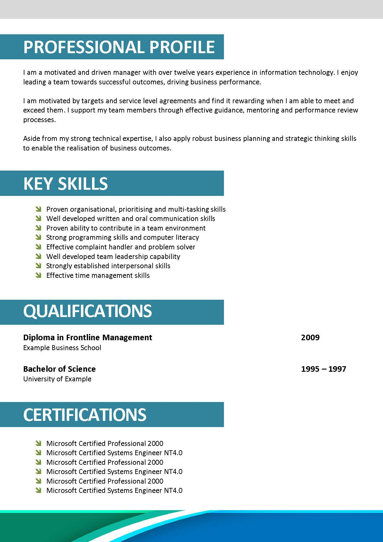 Corporate Cv Format Doc Sample
