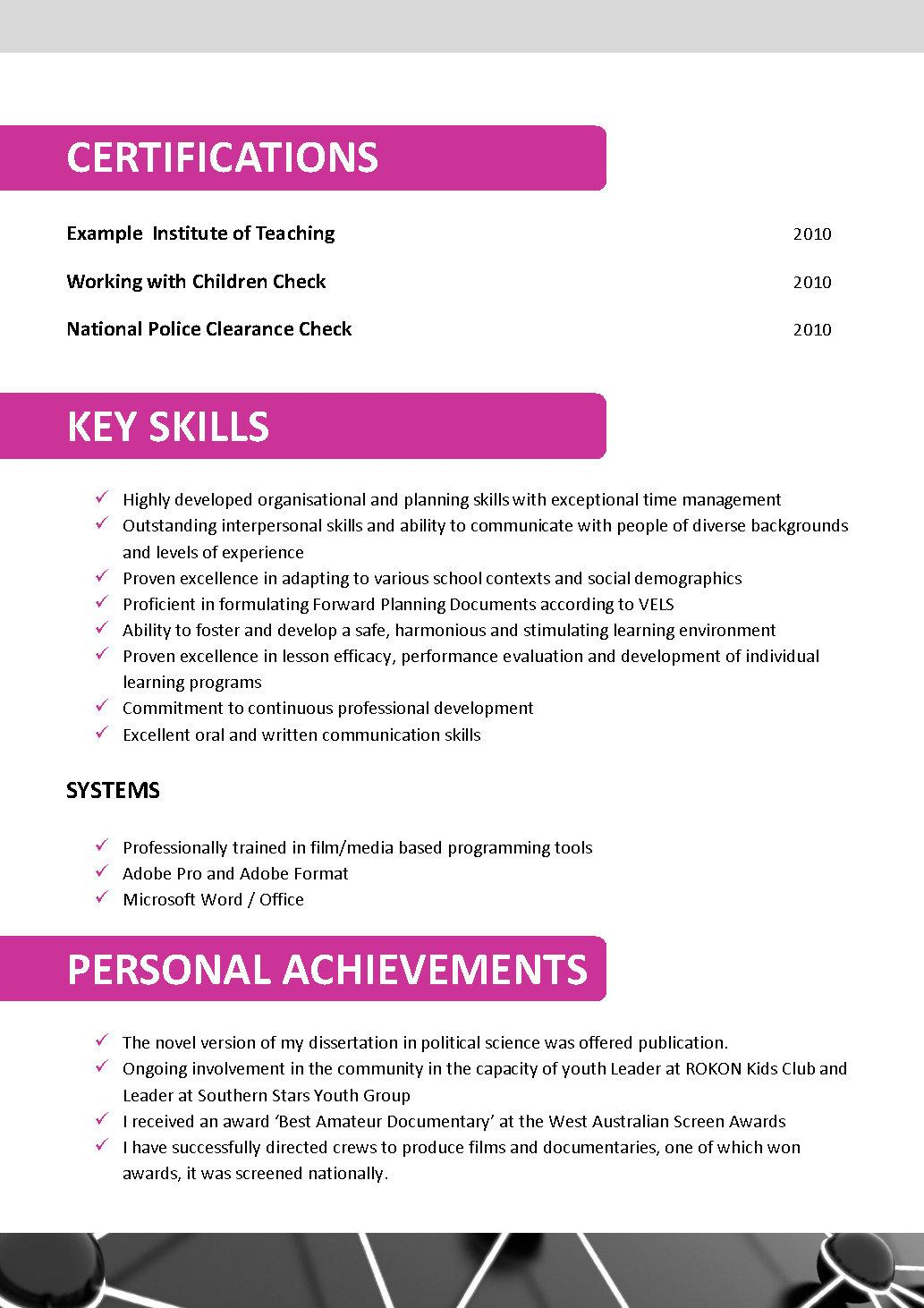resume templates australian teachers example of literature