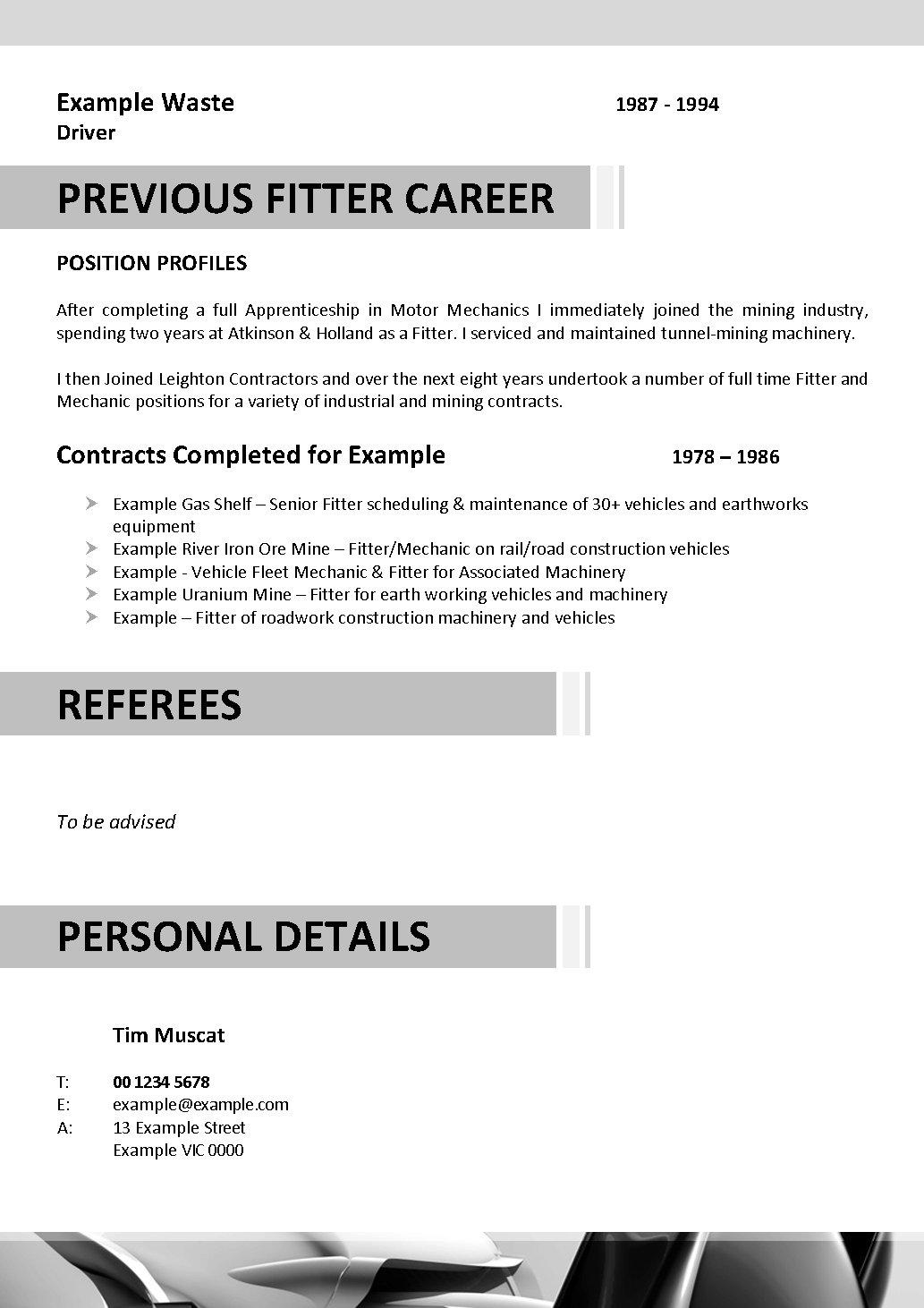 Fitter and turner resume