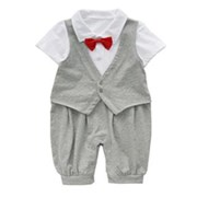 Grey Rays of Sunshine 1 Piece Onesie/Romper - Formal/Wedding Attire - Baby Boy Clothes