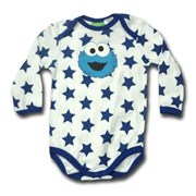 Baby Cookie Monste in Blue Stars - 123 Sesame Street® Long Sleeve Body Suit Romper - Licensed & Genuine