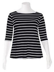 Weyre - stripe relaxed boat neck top