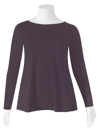 SALE - Weyre - grappa relaxed long sl boat neck top