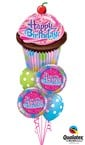 Cupcake Happy Birthday Balloon Bouquet